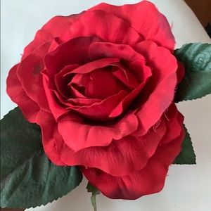 Extra large Artificial red rose flower with leaves
